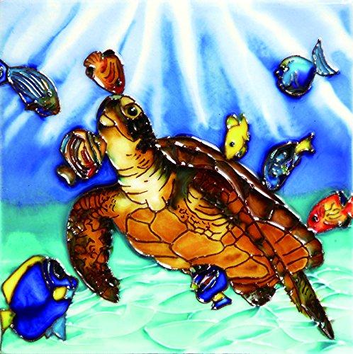 Turtle Tile Box - Turtle & Fishes - Decorative Ceramic Art Tile - 6