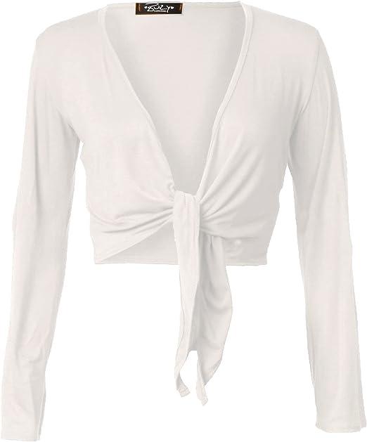 New Ladies Front Tie Up Cropped Bolero Shrug Womens Wrap Open Cardigan Top 8-14