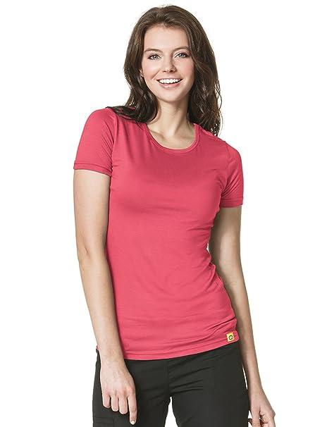 96c6780e Amazon.com: WonderWink Layers Women's Silky Short Sleeve T-Shirt Small  Papaya: Clothing