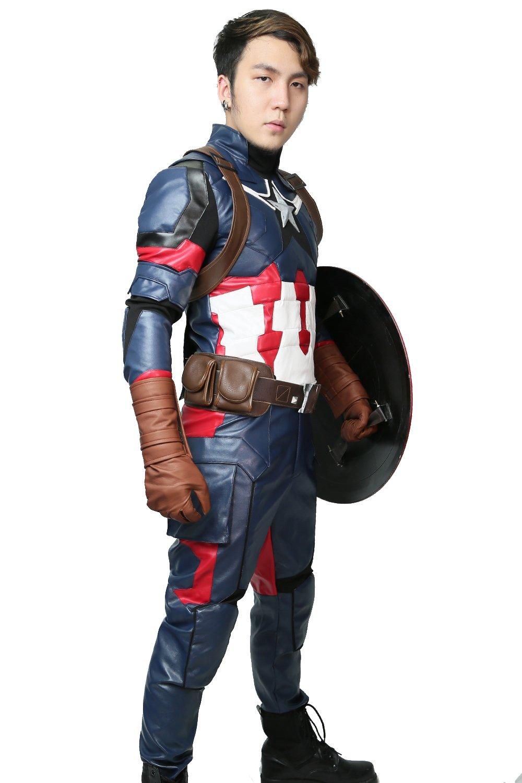 XCOSTUME Civil War Cosplay Costume Steven Rogers Battle Outfit 2016,Costume  Belt groves,Medium(168-172cm)