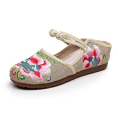 d8e3fb08b8ecf Aiweijia Chinois Style Chaussures brodées aux Femmes Été des Sandales  Confortabl Décontractée Broderie Chaussures de Marche