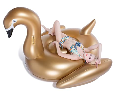 Amazon.com: Jasonwell Giant Inflatable Golden Swan Pool Float ...