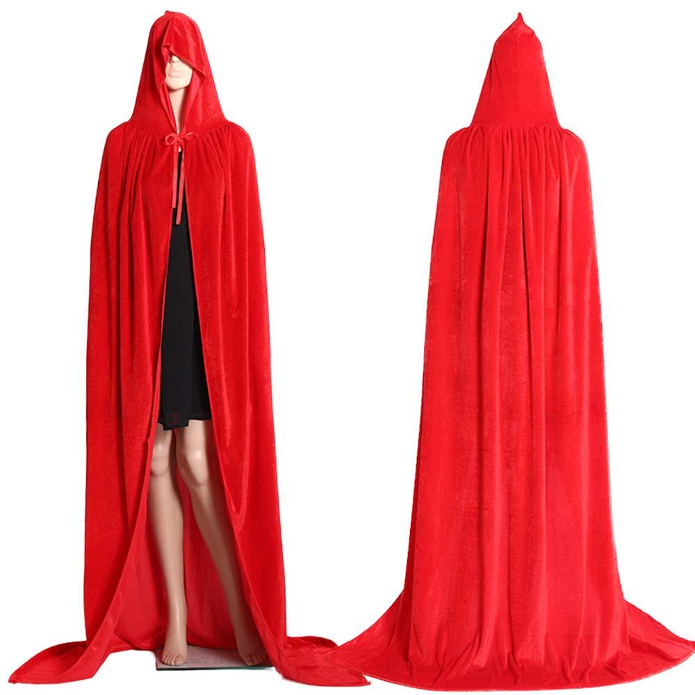 Mrisbtre Umhang Gr/ün Unisex mit Kapuze Lange Samtumhang Cape Vampir Kost/üm Halloween Karneval Fasching 04GXL