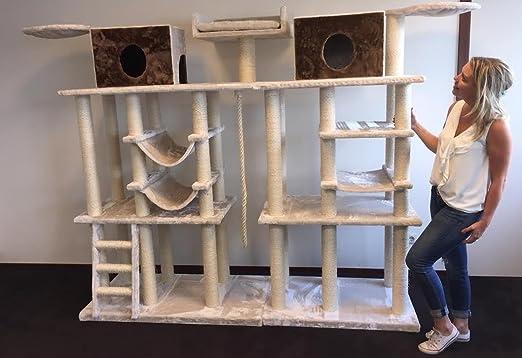 Gran trepador para gatos, incluye postes rascadores. Centro de actividades ideal para gatos grandes, en color blanco crema. Marca RHRQuality: Amazon.es: ...
