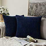 Decorative Pillow Cover - Pack of 2,Miulee Corduroy Soft Soild Decorative Square Throw Pillow Covers Set Cushion Case for Sofa Bedroom Car 18 x 18 Inch 4545 Cm