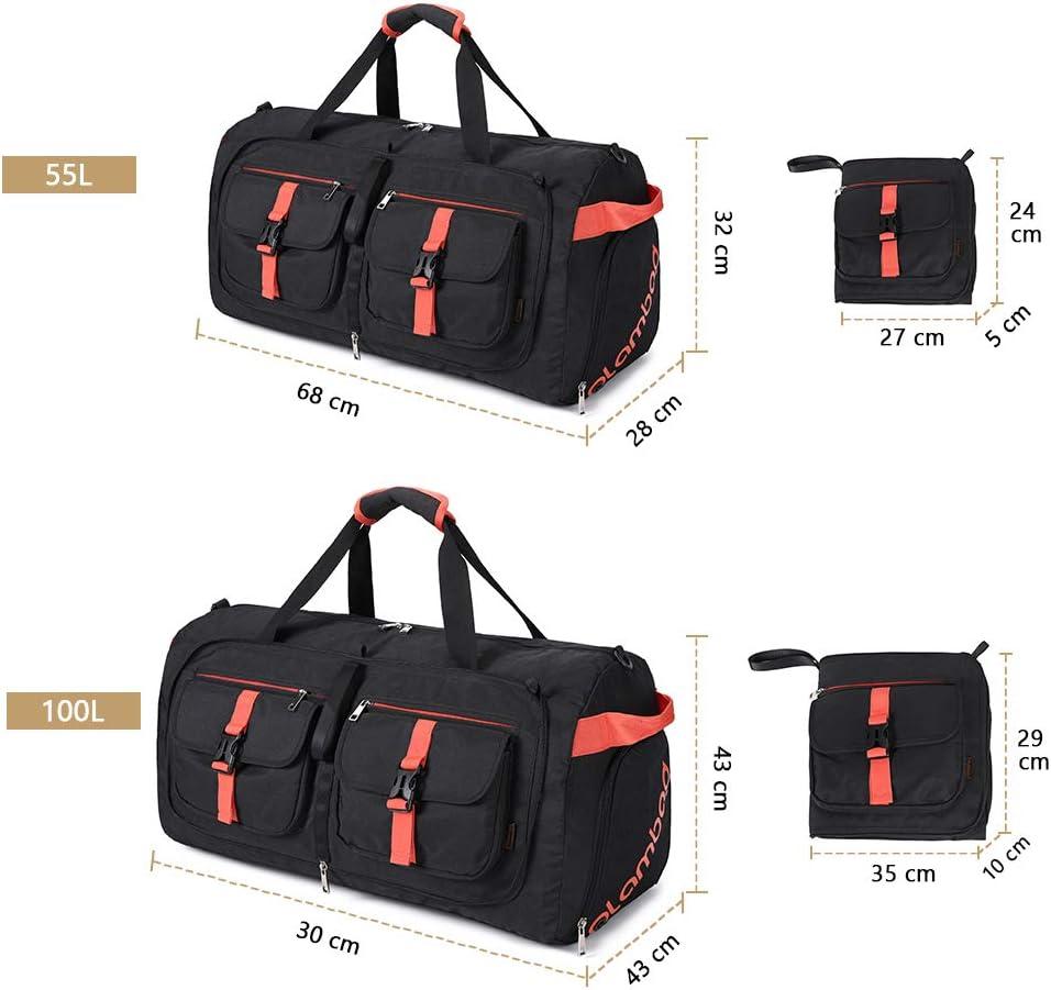 Plambag Bolsa Deporte Hombre Foldable Bolsas Gimnasio de Viaje Ligera con Compartimento para Zapatos Grand per 50L 100L