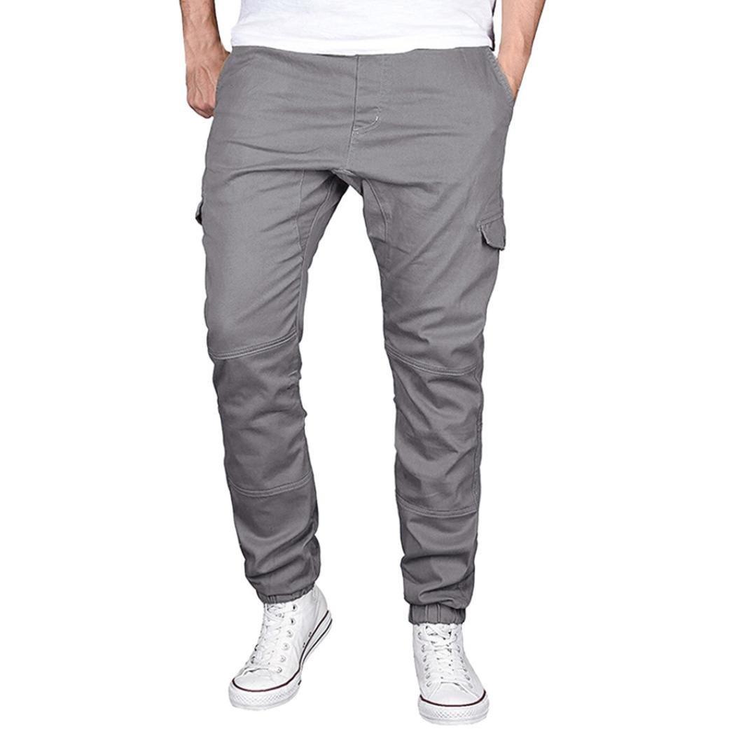 Spbamboo Fashion Men's Sport Pure Color Cotton Casual Sweatpants Drawstring Pant