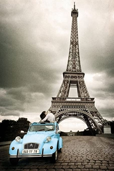 Amazon Com Gb Eye Limited Paris Romance Blue Car Under Eiffel Tower Photograph Cool Wall Decor Art Print Poster 24x36 Posters Prints