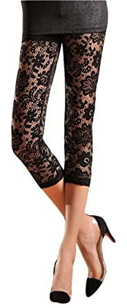 V28® Womens Stretchy Floral Lace Capri Leggings Tights at Amazon ...
