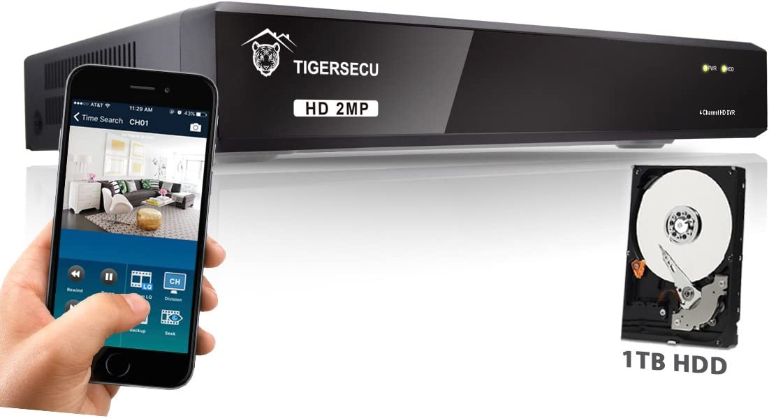 TIGERSECU Super HD 1080P H.265 4-Channel Hybrid 5-in-1 DVR NVR Security Video Recorder with 1TB Hard Drive, Supports Analog and ONVIF IP Cameras Cameras Not Included