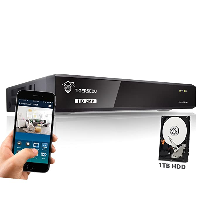 TIGERSECU Super HD 1080P 4-Channel Hybrid 5-in-1 DVR NVR Security Video Recorder with 1TB Hard Drive, Supports Analog and IP Cameras (Cameras Not Included)