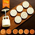Mid-Autumn Festival Moon Cake Mold Hand Press Cookie Stamps Pastry Tool 75g 6 Stamps DclobTop