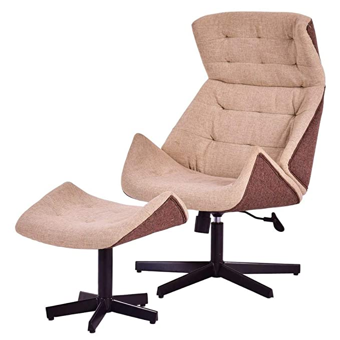 Amazon.com: Swivel Recliner with Ottoman Lounge Chair Set ...