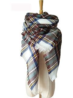 WarmHeart Mme foulard châle Europe et Amérique automne et hiver pour  augmenter écharpe carrée de treillis 4f66b4615f9