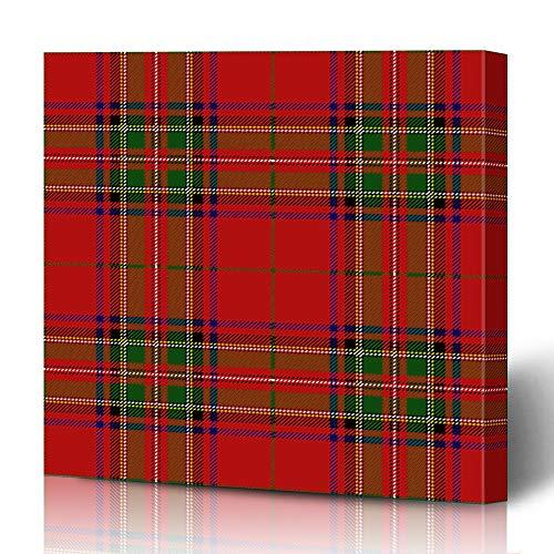 Ahawoso Canvas Prints Wall Art 12x16 Inches Plaid Red Checkered Clan Stewart Scottish Royal Track Tartan Stuart Culture Detailed Ethnic Flannel Decor for Living Room Office - Tartan Royal Stuart