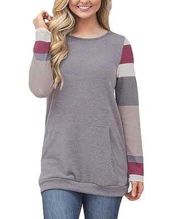 607708a1a Women's Color Block Tunic Tops Long Sleeve Lightweight Sweatshirt T Shirt  with Kangaroo Pocket Grey S