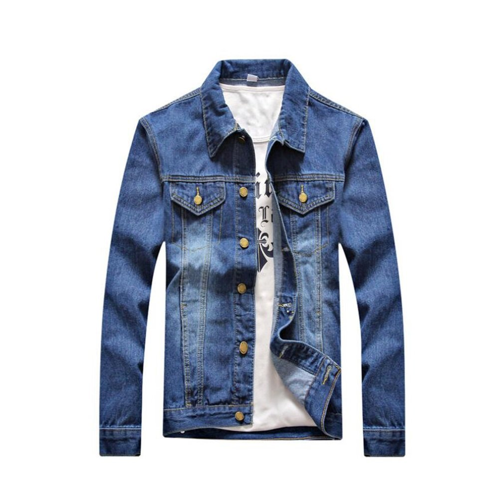 Men's Cotton Denim Jacket - Solid Colored Shirt Collar Korean Version Coats Spring Fall Casual Comfortable Long-Sleeved Tops Outerwear (Color : 1, Size : XXL)