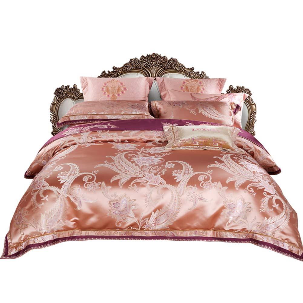 ジャカード サテン コットン 10 ピース 羽毛布団カバーセット, 繊細な花 パターン 寝具カバーセット ピンク クラシック 寝具セット-A B07NYYBW2S