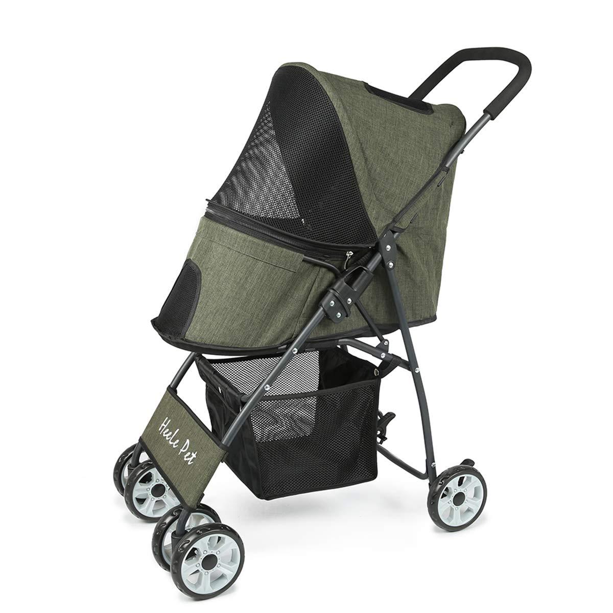 Pet Stroller Cat Dog Basket Zipper Entry Fold Cup Holder Carrier Cart Wheels Travel