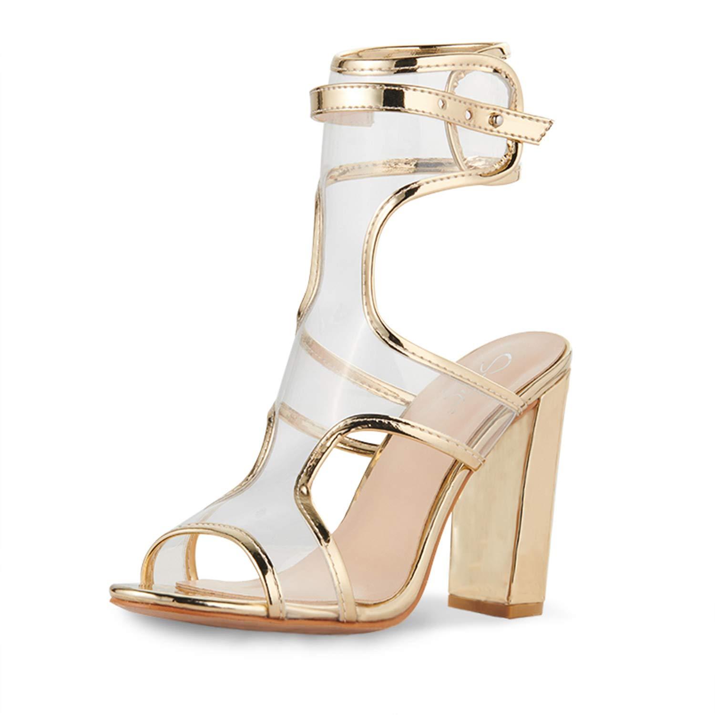 4a93517ed478d Amazon.com | JSUN7 Women's Fashion Chunky High Heel Sandal Pump Shoe ...