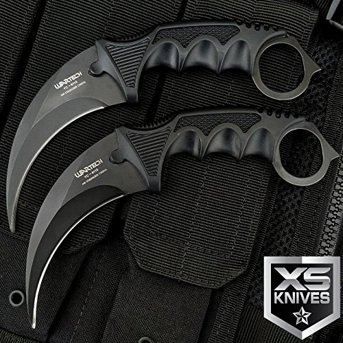New 2pc TACTICAL COMBAT KARAMBIT Eco'Gift LIMITED EDITION Knife with Sharp Blade Survival Hunting BOWIE Fixed Blade w/ SHEATH from New