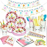 Unicorn Party Supplies Set Tableware Kit for Kids Birthday Party with Happy Birthday Banner, Disposable Paper Plates, Cups, Napkins, Straws, Plastic Table Cloth Serves 20 Guests by MIBOTE
