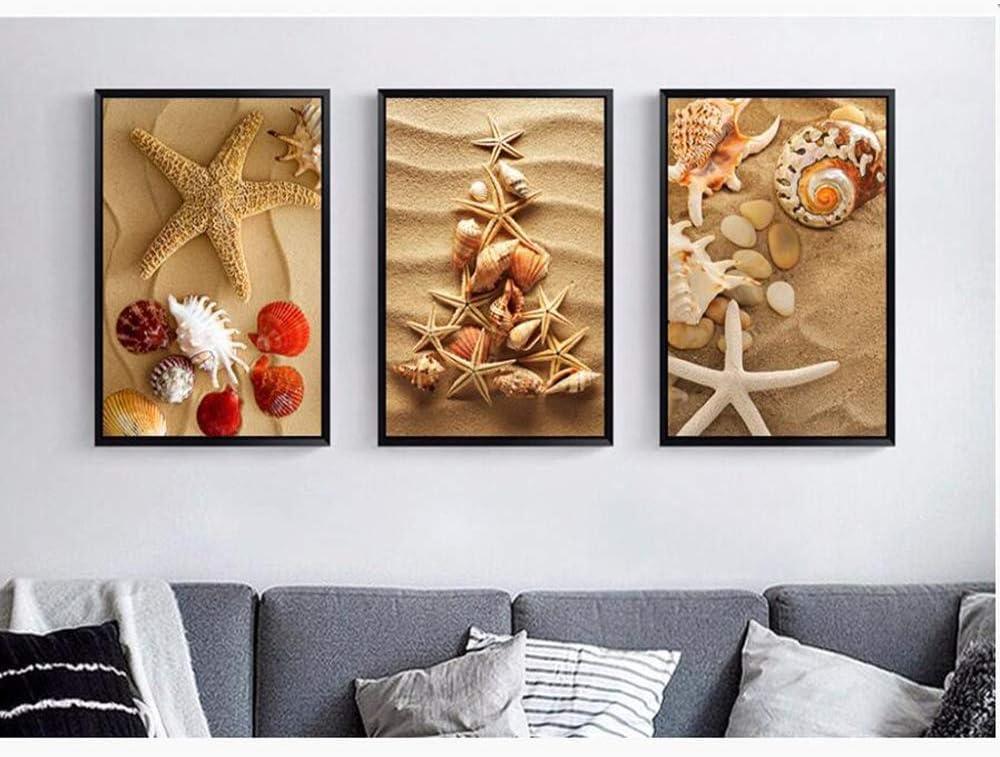 Seestern und Muscheln ohne Rahmen 3 St/ück Strandmuschel Spr/ühgem/älde auf Leinwand dekoratives Gem/älde
