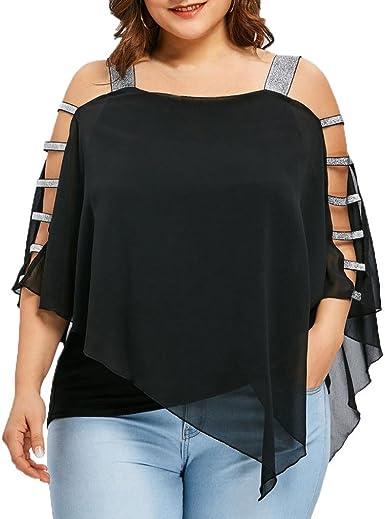 CICIYONER Blusa Mujer Talla Grande, Camiseta Hombros Descubiertos Camisetas Tallas Grandes Mujer (Negro, 44(Etiqueta XL)): Amazon.es: Ropa y accesorios