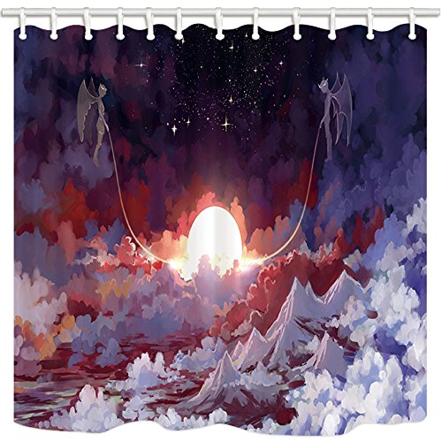 NYMB Fantasy Shower Curtain, High In The Clouds Angel And Demon Traction The Sun, Mildew Resistant Polyester Fabric, Bathroom Shower Curtain Set With Hooks, 69X70in, Bathroom Accessories (Traction Demon)