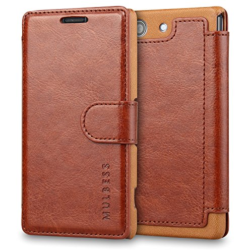 Sony Xperia Z3 Compact Case Wallet,Mulbess [Layered Dandy][Vintage Series][Coffee Brown] - [Ultra Slim][Wallet Case] - Leather Flip Cover With Credit Card Slot for Sony Xperia Z3 Compact