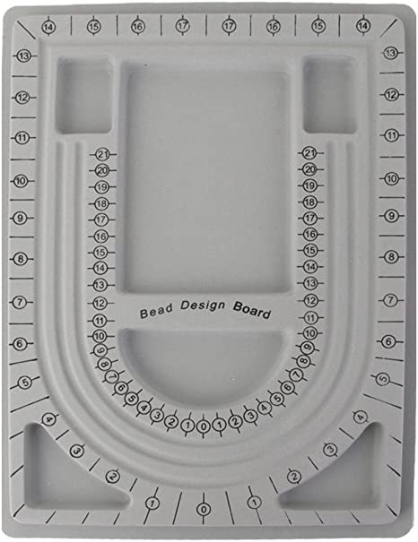Qingsi 2 Pcs Bead Design Board Bracelet Design Board Flocked Bead Board Necklace Beading Jewelry Organizer Tray DIY Jewelry Making Tray,Style 2