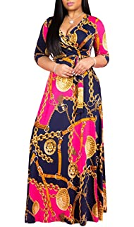 405f03ea98f LightlyKiss Women's Casual Floral Printed Long Sleeve Floor Length Party Maxi  Dresses V-Neck with