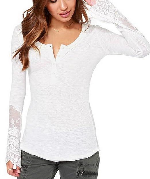 toyobuy - suave Base de encaje manga larga túnica camisas Tops blusa Pullover: Amazon.es: Ropa y accesorios