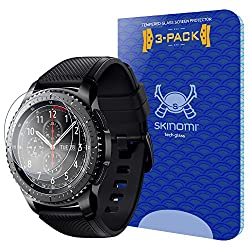 Samsung Gear S3 Screen Protector (Frontier, Classic) (3-pack), Skinomi Tech Glass Screen Protector For Samsung Gear S3 Clear Hd & 9h Hardness Ballistic Tempered Glass Shield