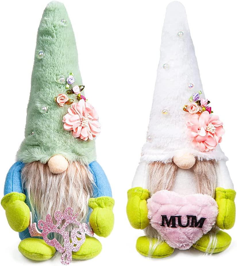 Docuwee 2PCS Flowers Love Dwarf Gnome Doll, Handmade Plush Small Gnomes Ornaments Faceless Accessories Plush Standing Dolls Spring Decor Household Decoration Toys Gifts (White, Green)