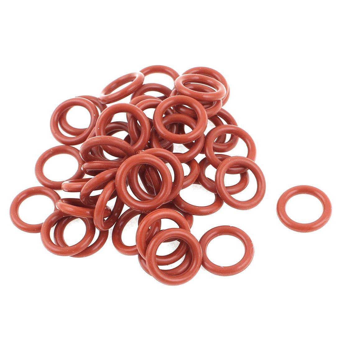 Sourcingmap® 50pcs 12mm x 8mm x 2mm en caoutchouc O Ring Huile Joint d'étanchéité de remplacement Rouge a14091900ux0057