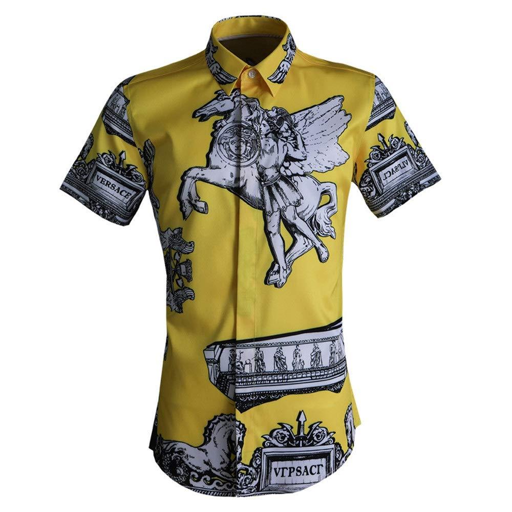 Jaune grand Chemises de plage d'été pour hommes Chemise à hommeches courtes pour hommes imprimée en 3D à col ouvert et à col boutonné Chemise de ville coupe ajustée Chemise en coton de coupe Chemise de