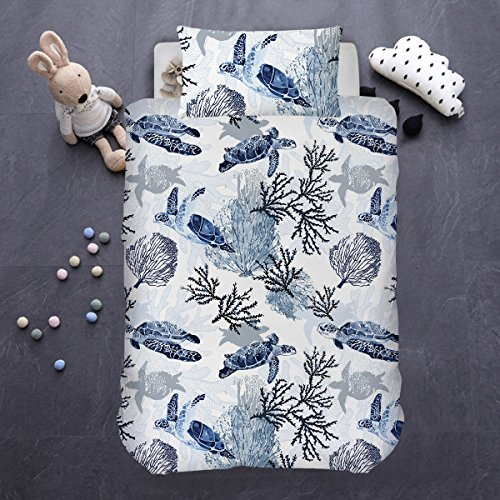 ARIGHTEX Sea Turtle Bedding 2 Piece Coastal Life Coral Reef Beach Bedding Indigo Dyeing Hawaiian Turtle White Summer Duvet Cover for Kids (Single) (Bedding Coastal Life)