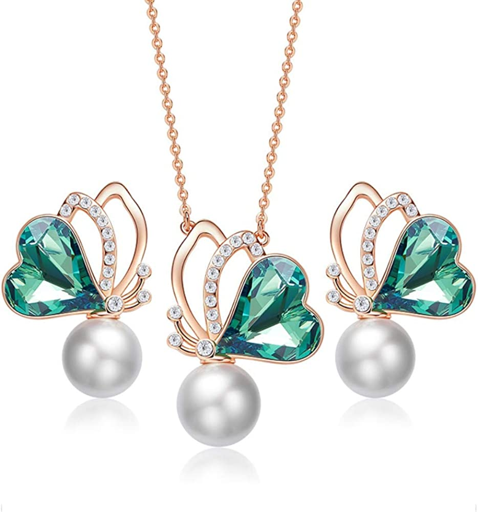Amazon.com: JTO Synthetic Pearl Butterfly Love Heart Pink ...