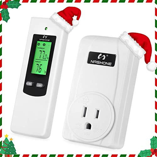Nashone Wireless Temperature Controller,Electric Thermostat with Remote Control Built in Temp Sensor 3 Prong