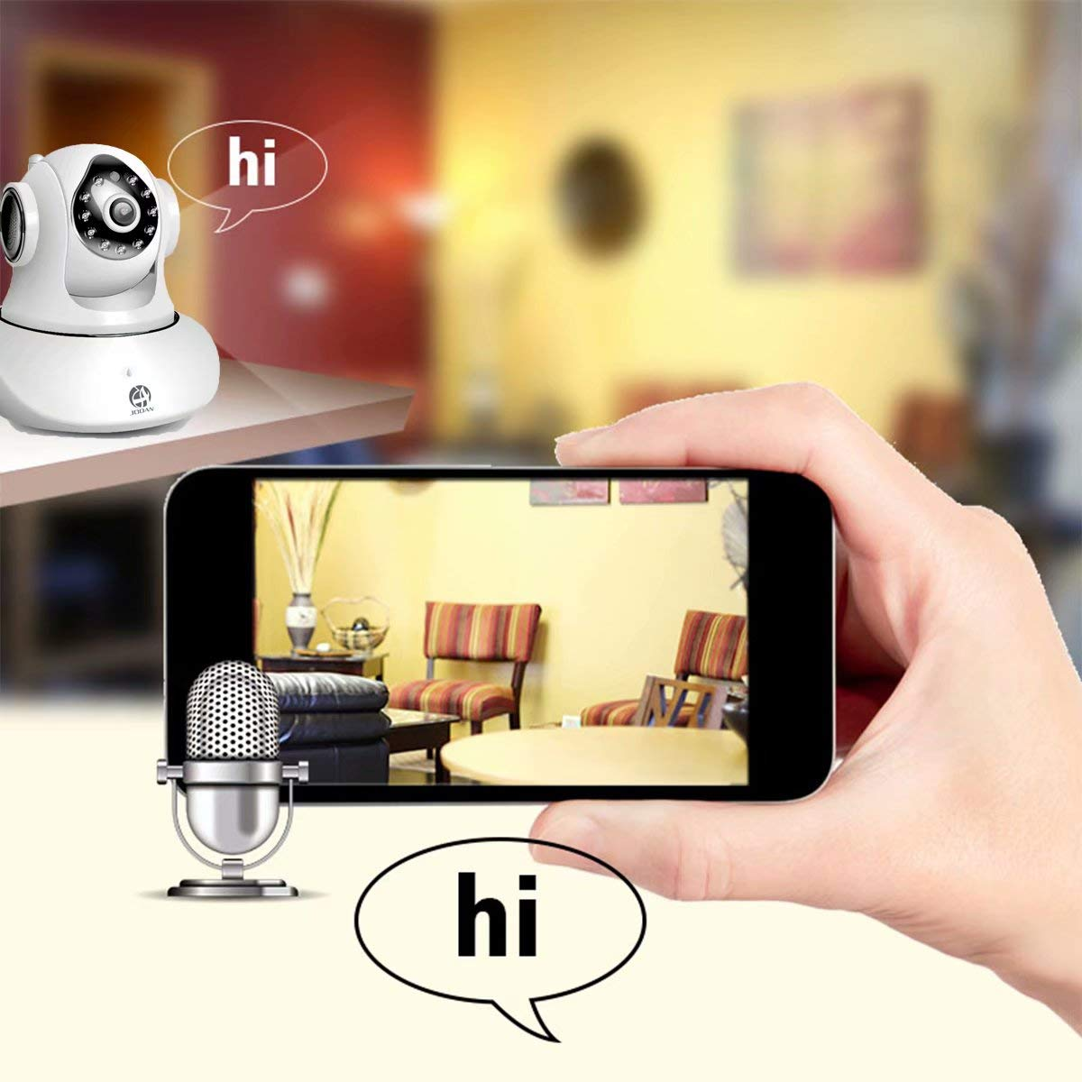 JOOAN WiFi Security Camera Wireless IP Camera with Two-Way Audio Night Vision 720P Camera for Pet Baby Monitor by JOOAN (Image #6)