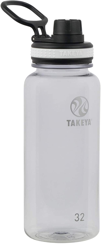 Takeya Tritan Sports Water Bottle with Spout Lid, 32 oz, Clear