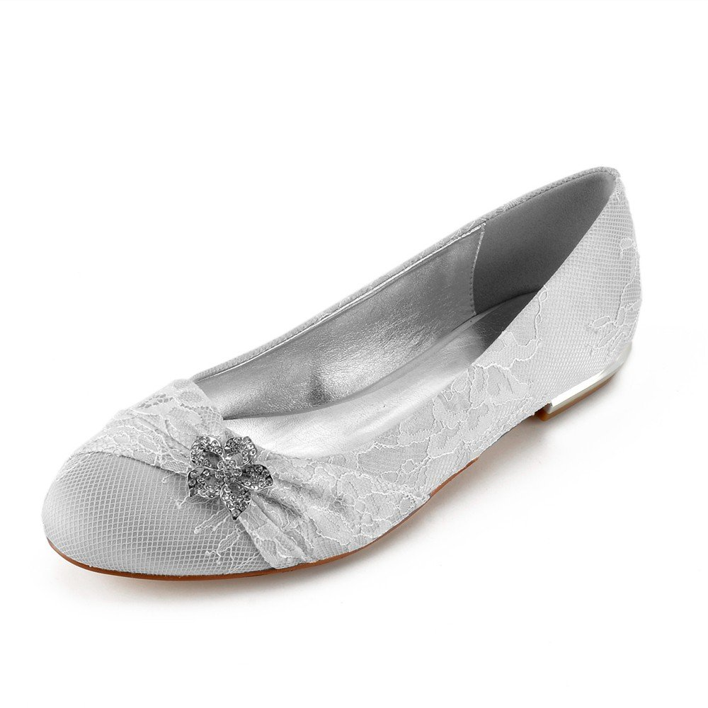Zxstz Para Mujer Nupcial del Banquete de Boda Tacones Bajos Prom Cerrada Hebilla del Dedo del pie Bow Zapatos de Boda de Encaje, Plata, 38 38EU|Plata