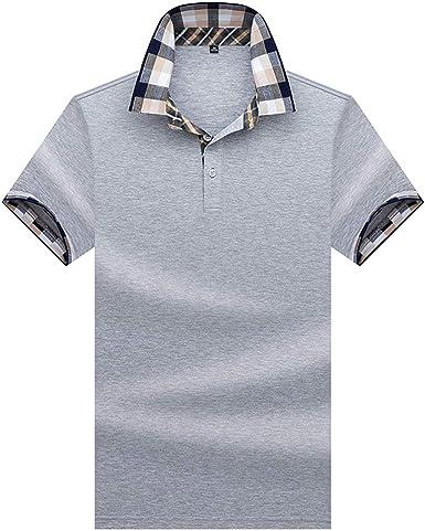 Polo Hombre Manga Corta Camiseta Casual 100% Puro Algodón - Gris: Amazon.es: Ropa y accesorios