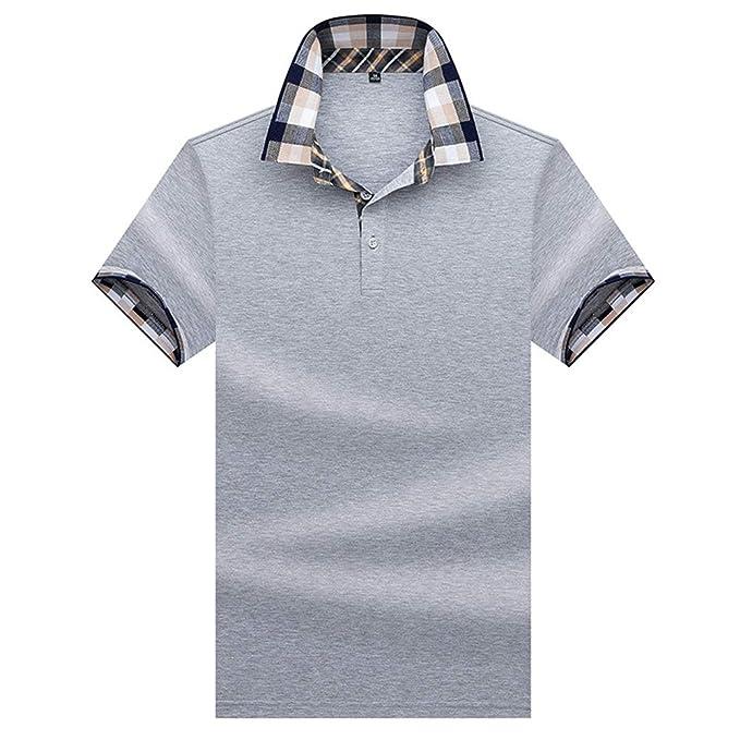Polo Hombre Manga Corta Camiseta Casual 100% Puro Algodón - Gris ...
