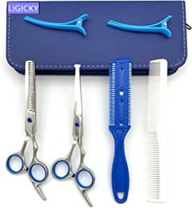 LIGICKY Hair Cutting Scissors Set Safety Round Tip Set (Blue) Blue