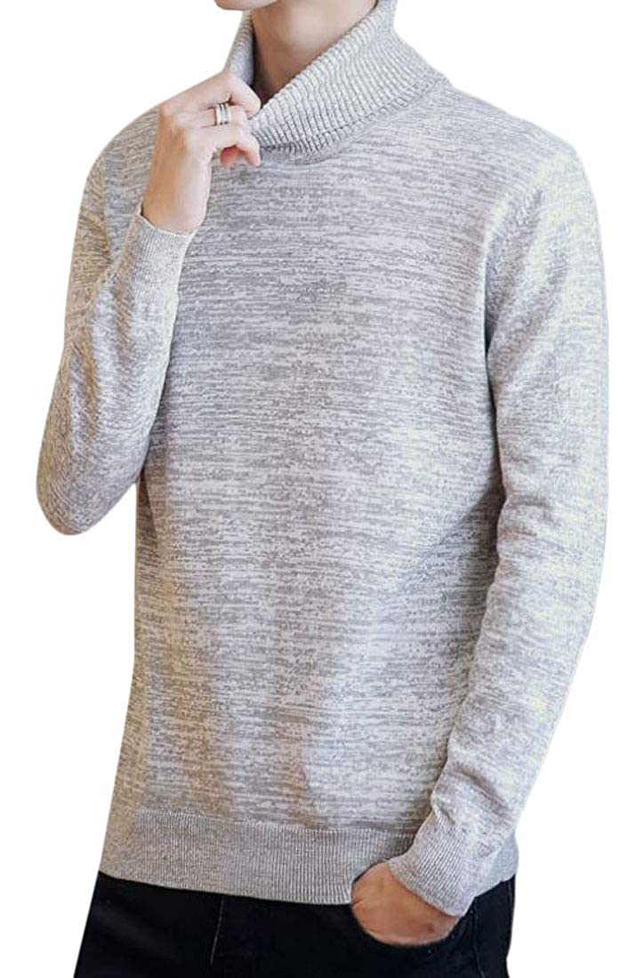 Cromoncent Men Stylish Turtleneck Ribbed Knit Long Sleeve Pullover Jumper Sweaters