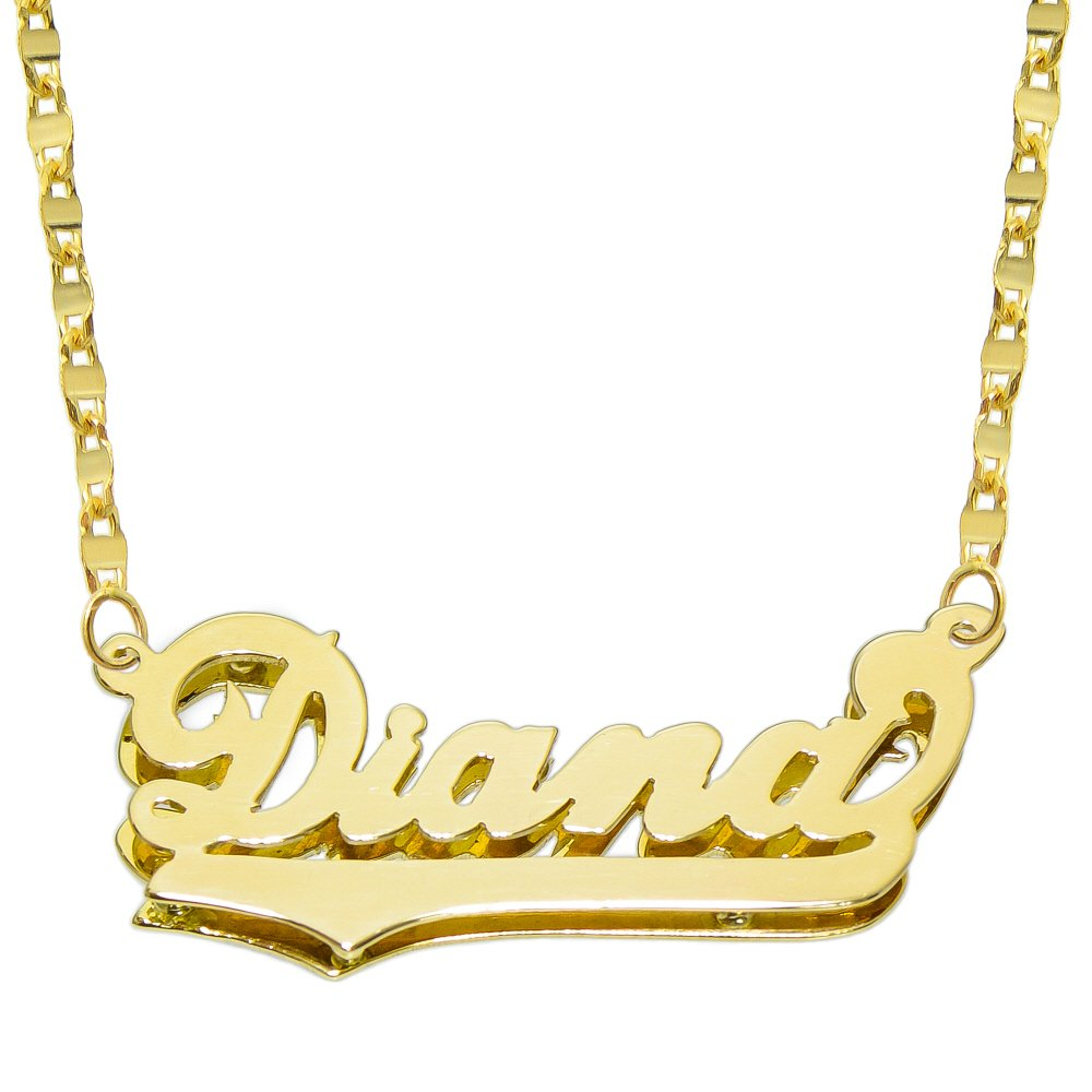 14K Yellow Gold Personalized Double Plate 3D Name Necklace - Style 4 (18 Inches, Hammer Chain)