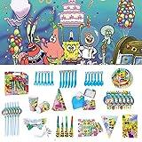 Nidezon SpongeBob Party Supplies Set-100 Pieces SpongeBob Birthday Decoration Shower Decorations Backdrop Banner Cake Topper Paper Hat Gift Bag Table Cloth- Serves 6 Guest