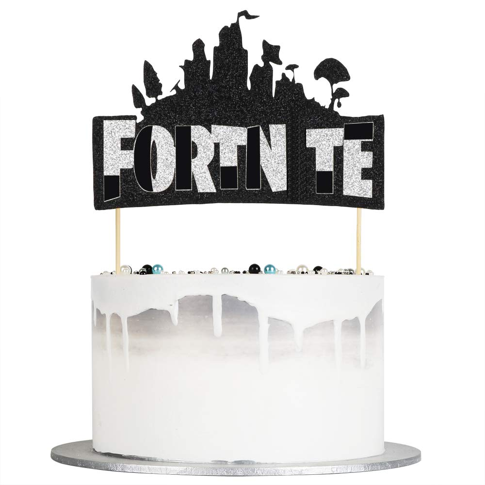 Birthday Cake Topper and Video Game Party Decoration Supplies Auteby Video Game Cake Topper Silver